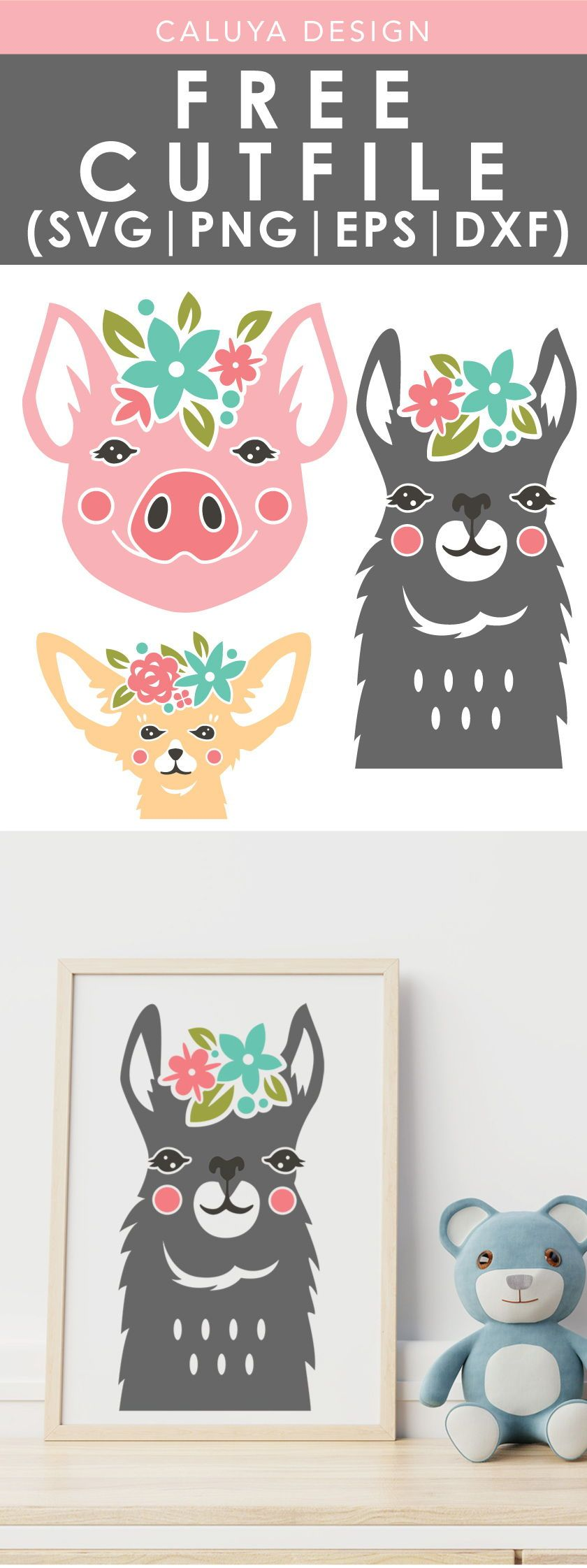 FREE Floral Headset Animals SVG cut file, Printable vector clip art download. Free printable clip art. Compatible with Cameo Silhouette, Cricut explore and other major cutting machines. 100% for personal use, only $3 for commercial use. Perfect for DIY craft project with Cricut & Cameo Silhouette, card making, scrapbooking, making planner stickers, making vinyl decals, t-shirts making , fashion, apparel, HTV, and more! Free Llama SVG cut file, Chihuahua SVG cut file, Piggy SVG cut file, Pig SVG #cricutvinylprojects