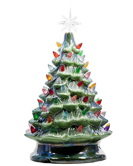 Amazon.com: ReLive Christmas is Forever Lighted Tabletop Ceramic Tree, 14.… | Vintage ceramic ...