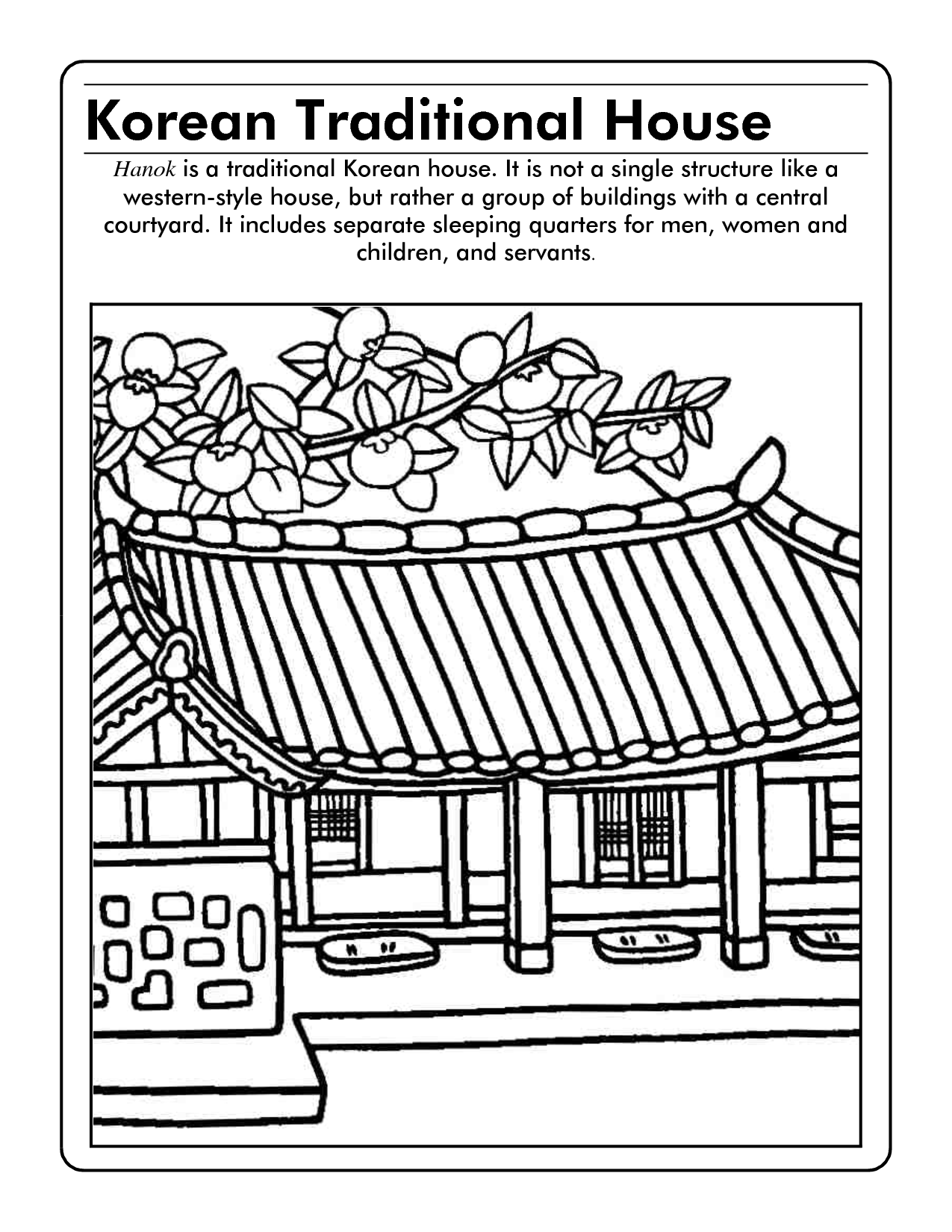 South korea coloring book - Korea Coloring Page Scope Of Work Template