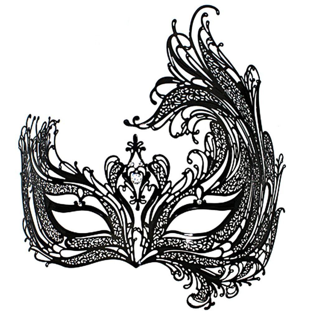 Black Swan Metal Filigree Laser Cut Venetian Masquerade Mask W/ Rhinestones  HOT