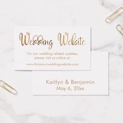 Faux Gold Foil Wedding Website Insert Card - gold gifts golden