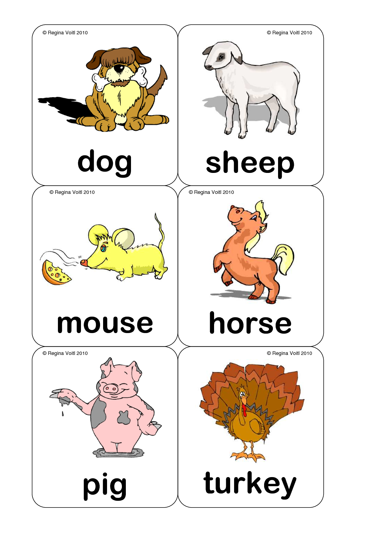 Farm Animal Flash Cards Printable Animal flashcards