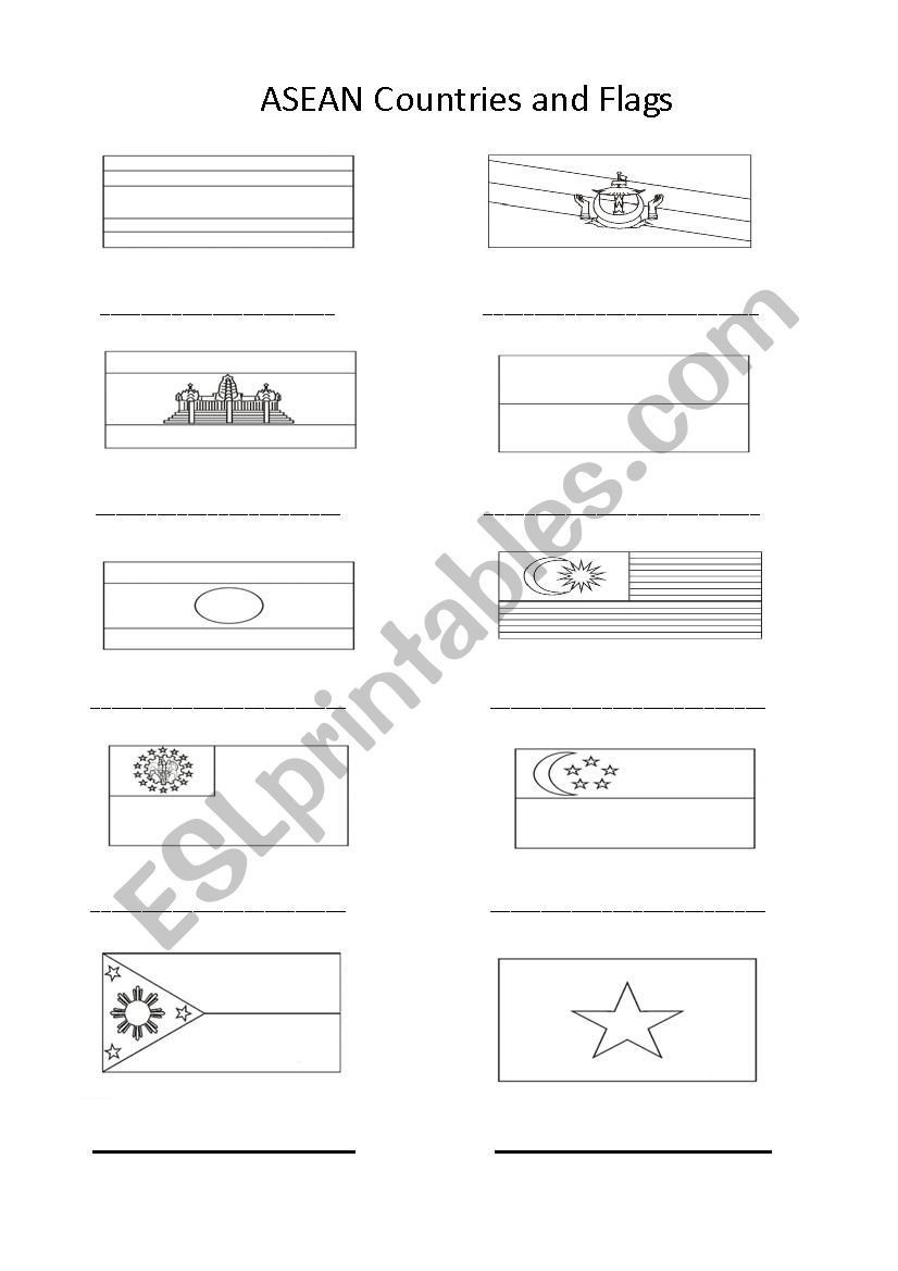 Asean Country Flags To Name And Colour Flag Coloring Pages Bolivia Flag Flag [ 1169 x 826 Pixel ]