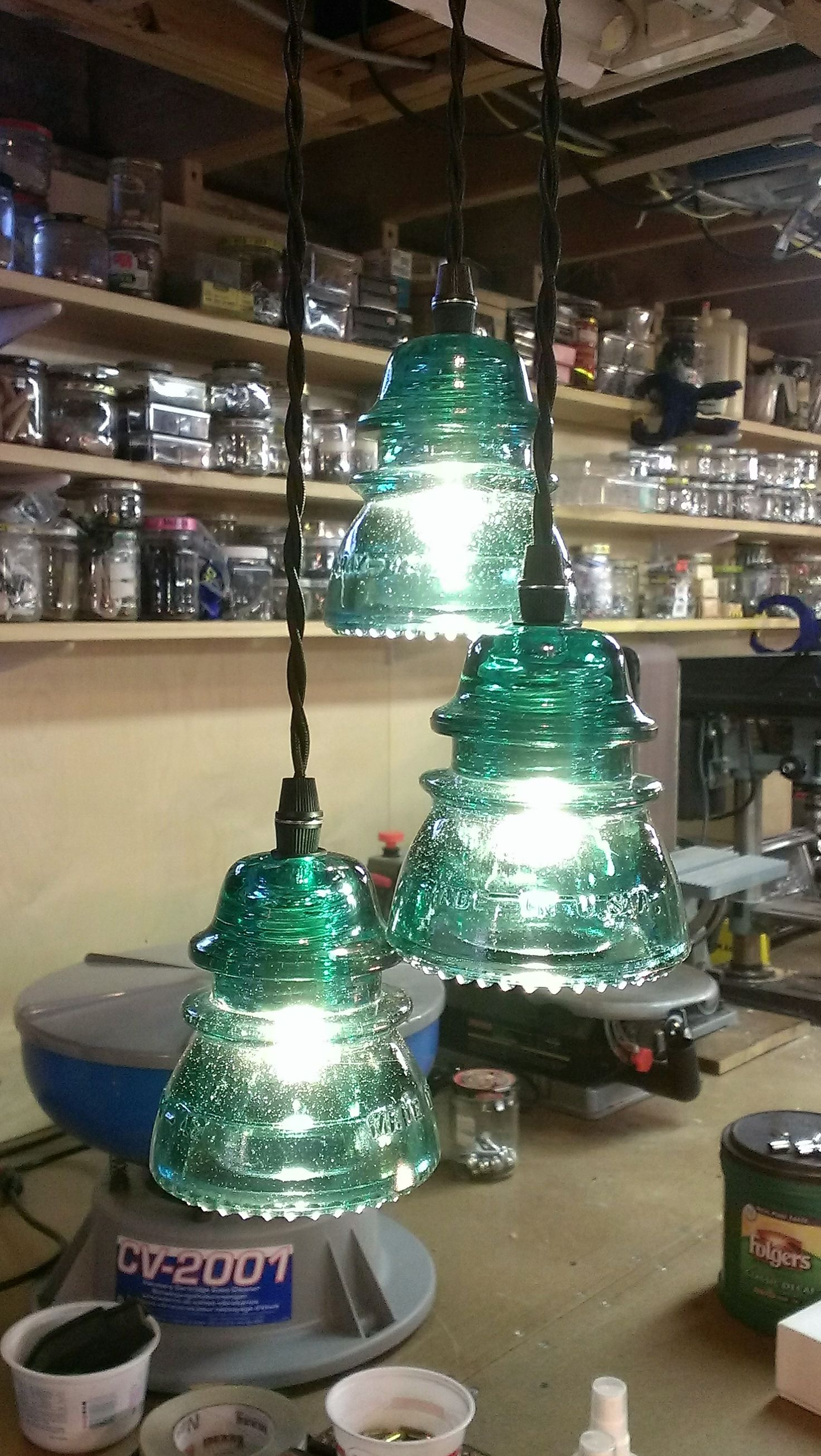 Antique Insulators Repurposed Into Lighting Authentic Vintage Glass Wiring Old Light Paired With Modern For A Remarkable Home Accent Piece