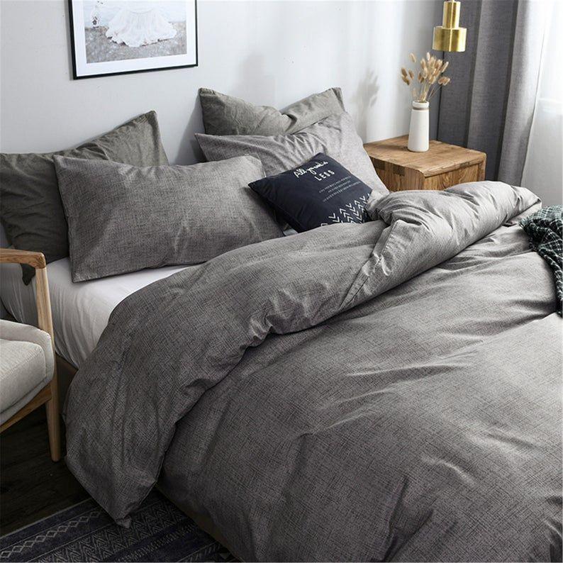 Autumn Winter 3 Piece Comforter Cover Set Gray Duvet Cover Set Etsy In 2020 Gray Duvet Cover Grey Duvet Bedroom Grey Comforter Bedroom