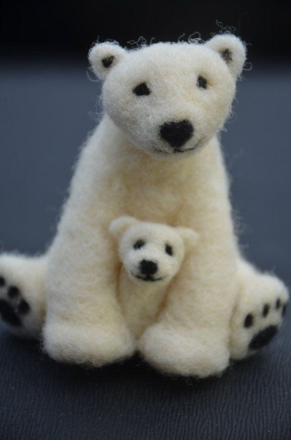 Needle Felted Mama And Baby Polar Bear By Needlefeltedlove On Etsy