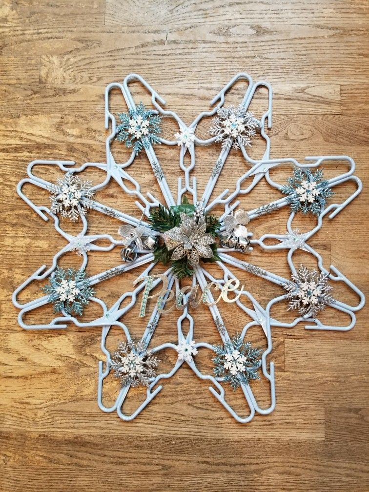 clothes hanger Snowflake Decoration #hangersnowflake clothes hanger Snowflake Decoration #hangersnowflake
