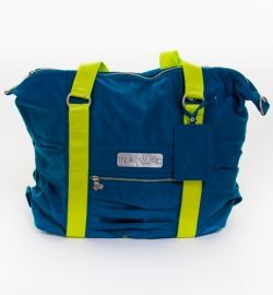 cache bag in teal and neon