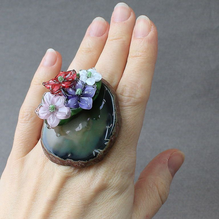 #‎lampwork‬ ‪#‎ring‬ ‪#‎flower‬ ‪#‎flowers‬ ‪#‎glass‬ ‪#‎jewelry‬ ‪#‎handmade‬ ‪#‎bouquet‬