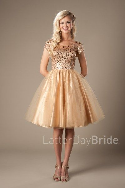 Gold Sequin Knee Length Cocktail Dresses