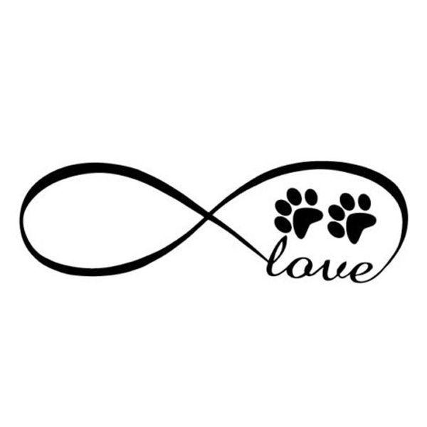 Memorial Tattoo Infinity Paw Print: Infinity Dog Footprints LOVE Car Stickers