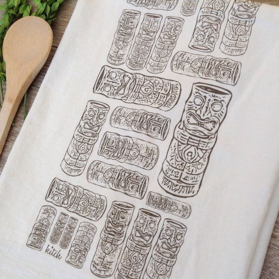 Tea Towel Tiki Tea Towel Tan Taupe Kitchen Flour by KitchStudios