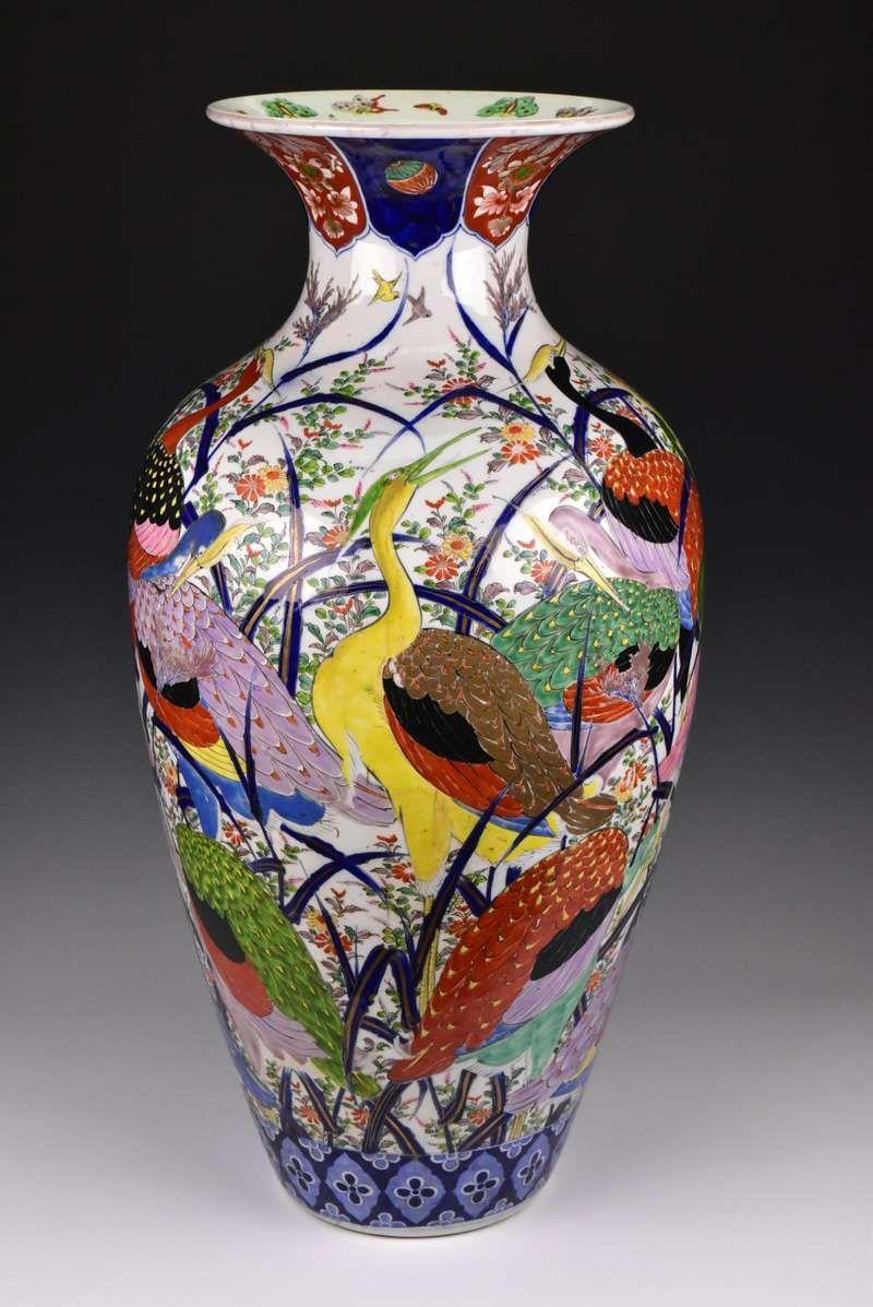 For Sale On 1stdibs Description Japanese Imari Palace Floor Vase Of Nice Form Decorated With Colorful Enamel P Bronze Vase Hand Painted Porcelain Floor Vase