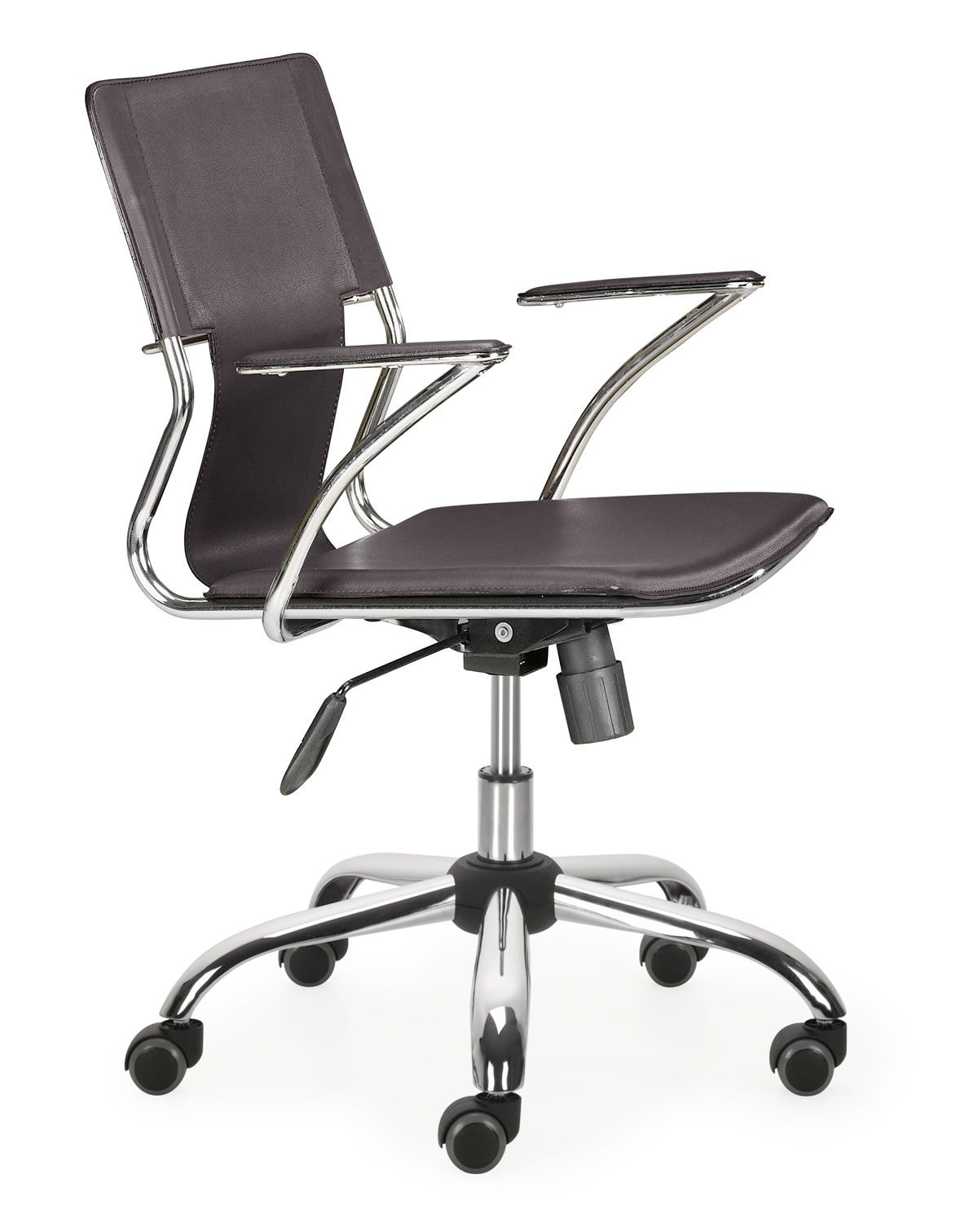 This fun and functional office chair combines a modern and transitional look. The Trafico office chair is made from solid steel chrome frame, leatherette sling seat and arm pads, with a chrome base with adjustable height.