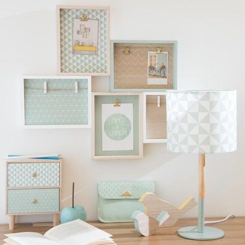 bo te 2 tiroirs en paulownia motifs vert menthe mint. Black Bedroom Furniture Sets. Home Design Ideas