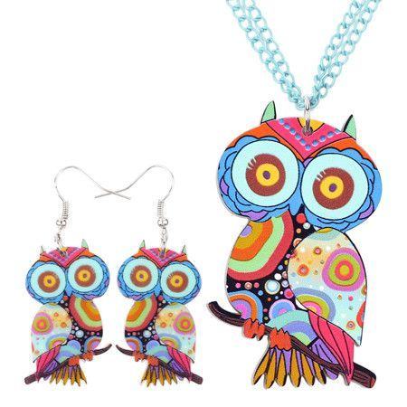 Blue Owl - Earrings and Necklace