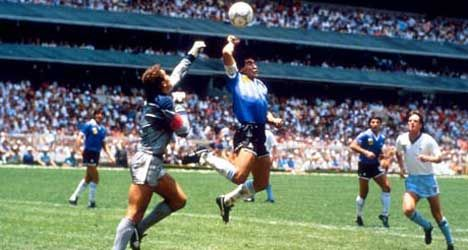 Peter Shilton Signed Hand Of God Poster Football Photography Football Diego Maradona