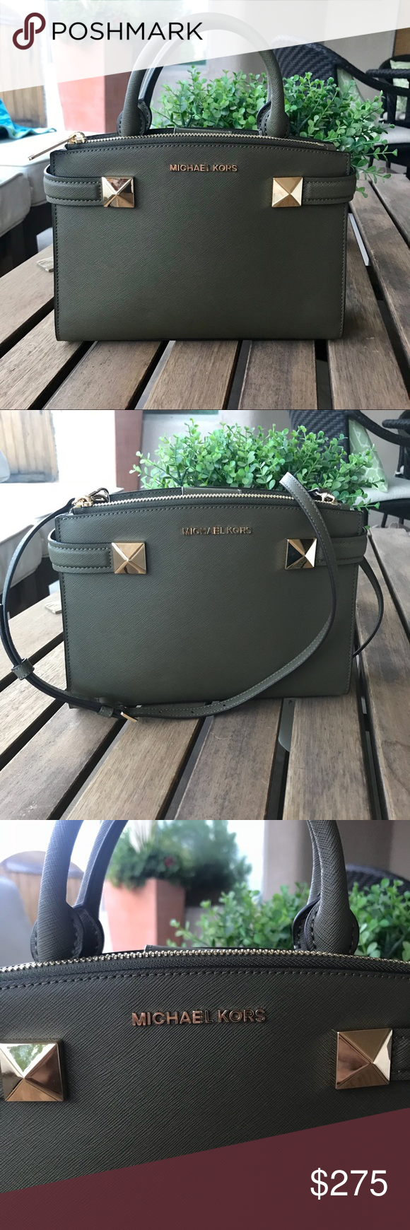 04b4ea8029d5c9 NWT Michael Kors Karla Small Olive Green Satchel Make me an offer please :)  trying