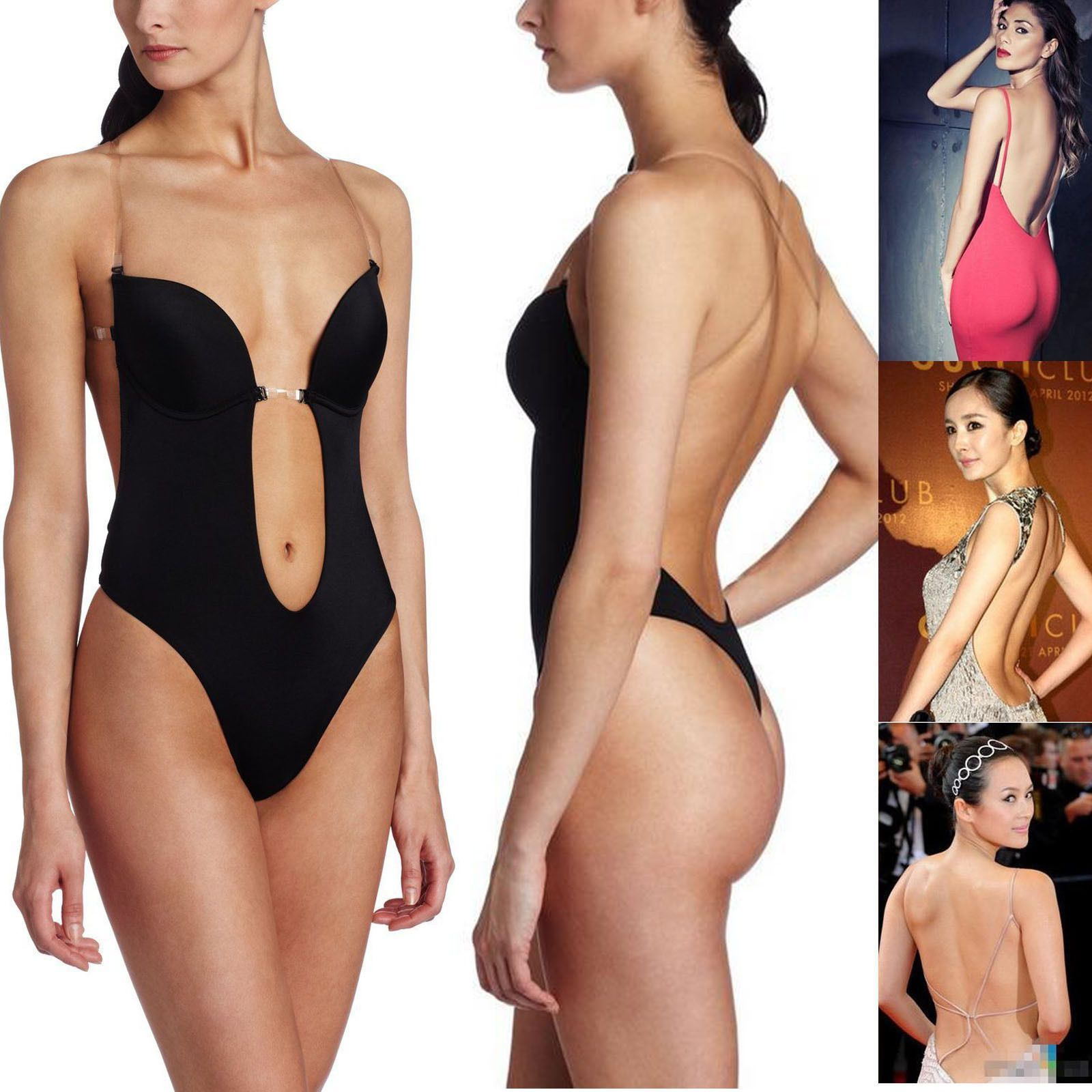 412225a9a8 Hot Backless Bra DEEP Plunge THONG CLEAR STRAP Convertible BODY SHAPER  Shapewear