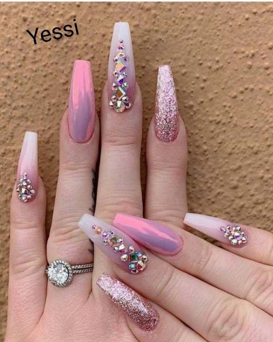 Coffin Pink Nails With Diamonds Diamond Nails Coffin Nails Designs Diamond Nail Art