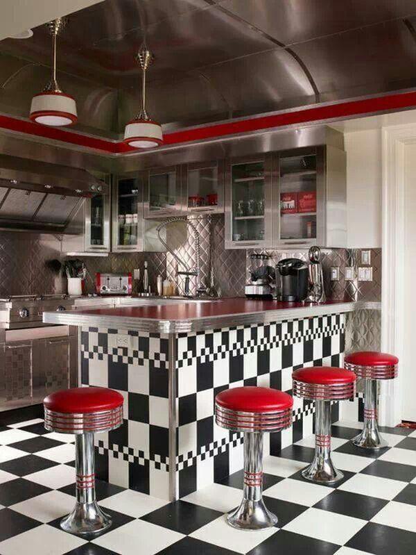 Pin By Amber Levizon On Home Ideas Retro Kitchen Decor 50s Diner Kitchen Retro Diner