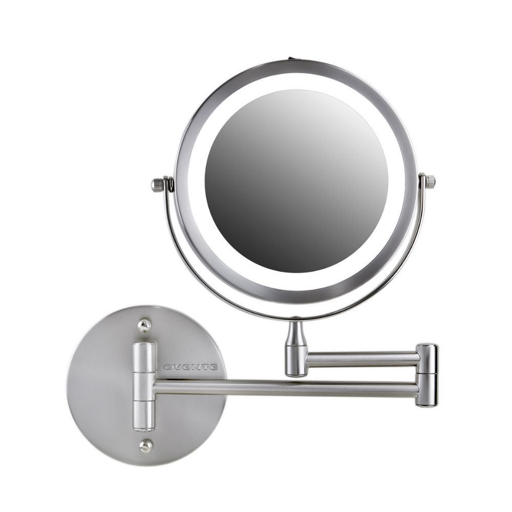 Ovente Wall Mount Led Lighted Makeup Mirror 7 Inch Battery Operated Double Sided 1x 10x Magnification For Bedroom Bathroom Nickel Brushed Mfw70br1x10x In 2020 Wall Mounted Makeup Mirror Makeup