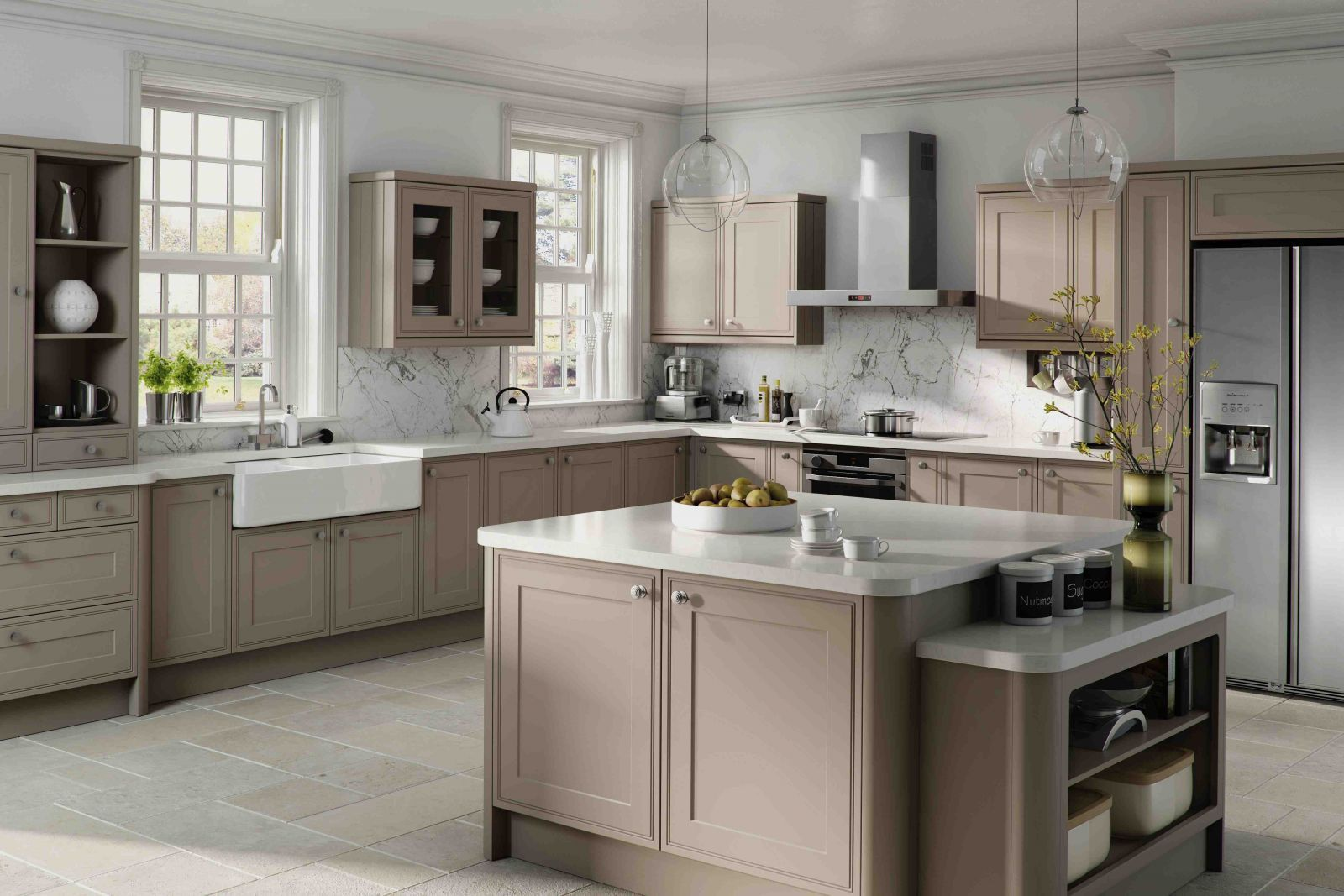 Best Kitchen Gallery: Taupe Kitchen Cabi S And White Countertops Kitchendesign of Taupe Kitchen Cabinets With White Walls on rachelxblog.com