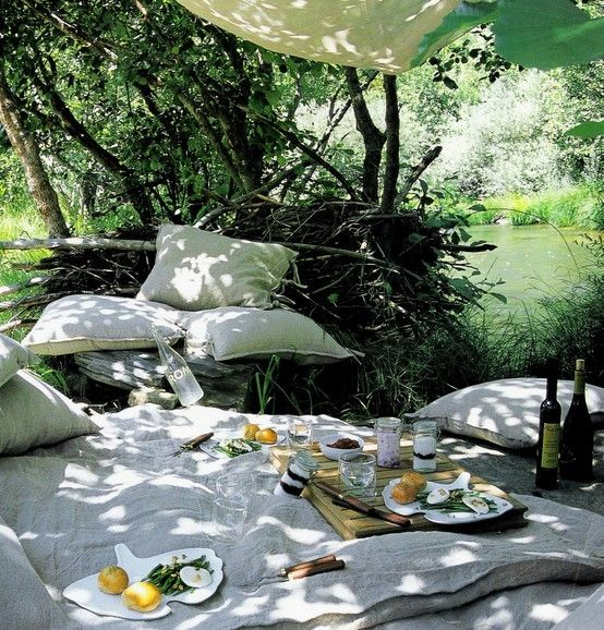 lots of pillows and a shady spot by the lake.. perfect!
