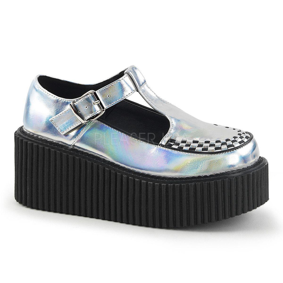 e928f0060e1 Demonia CREEPER-214 has a 3-inch platform T-strap silver hologram patent creeper  shoes with side cutout and interwoven apron
