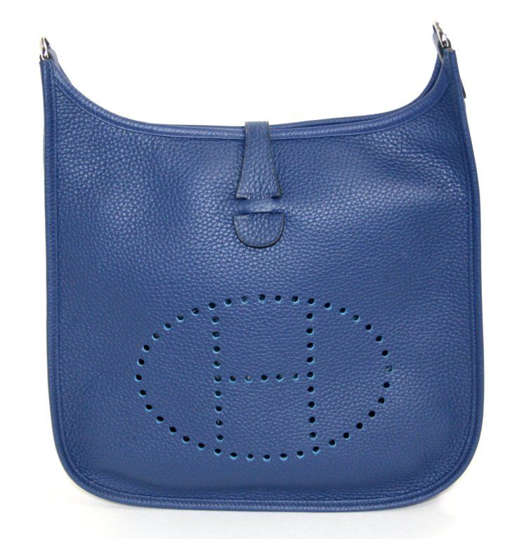 Hermès Blue Sapphire Evelyne III PM | From a collection of rare vintage handbags and purses at http://www.1stdibs.com/fashion/accessories/handbags-purses/