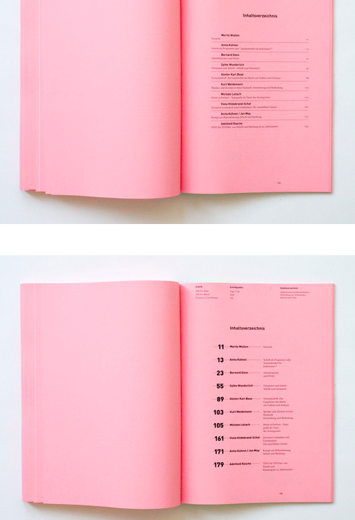book index / table of content #print #editorial