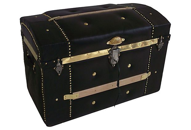 Leather-Covered Trunk w/ Curved Top on OneKingsLane.com