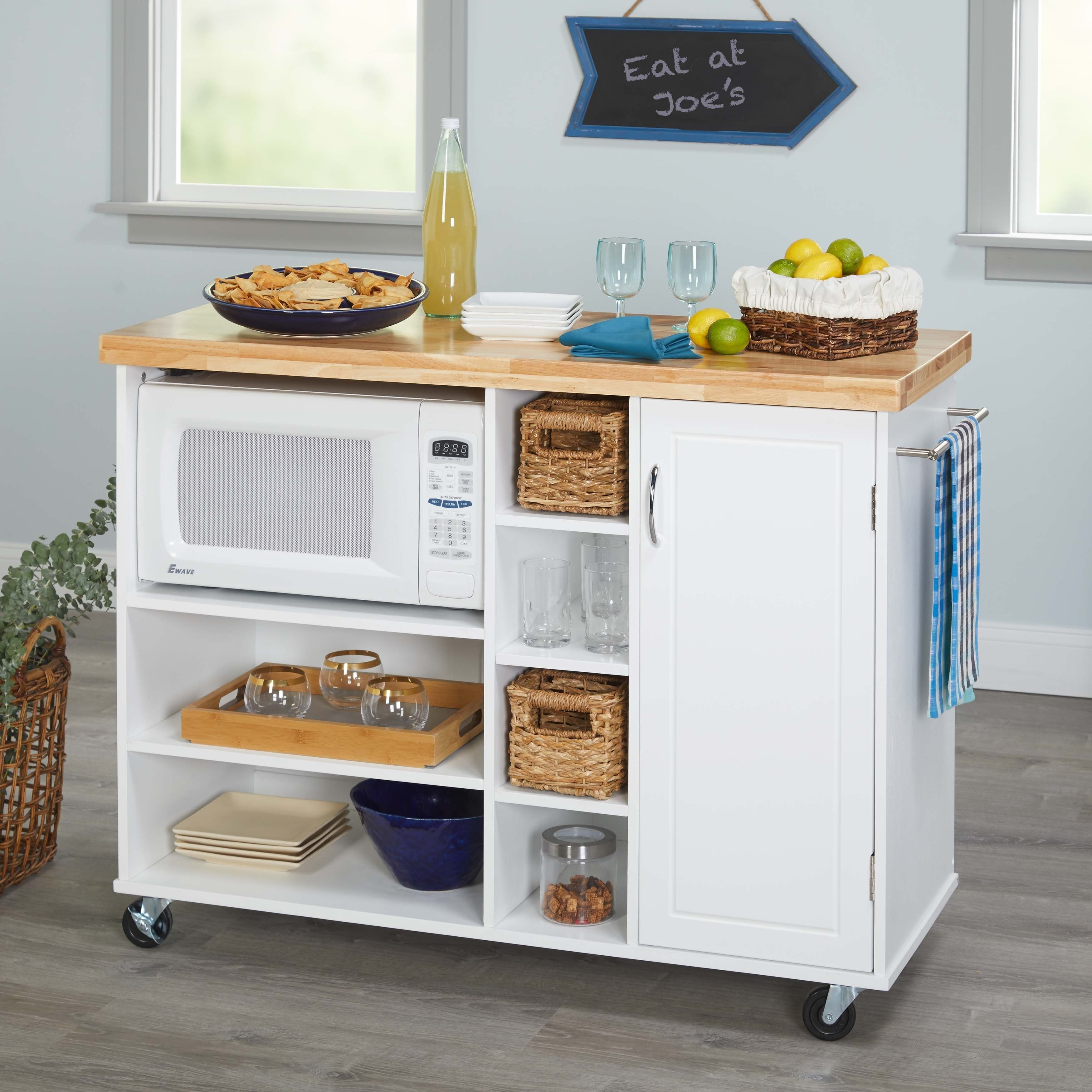Simple Living Rolling Galvin Microwave Cart (White