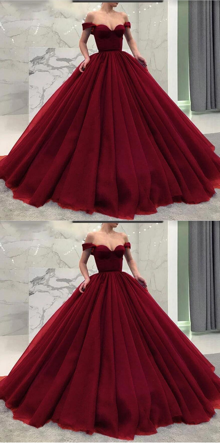 Fancy Princess off shoulder burgundy ball gown prom dress