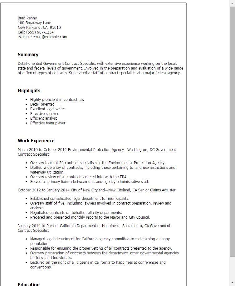 Resume Templates Government Contract Specialist  Gov Contract