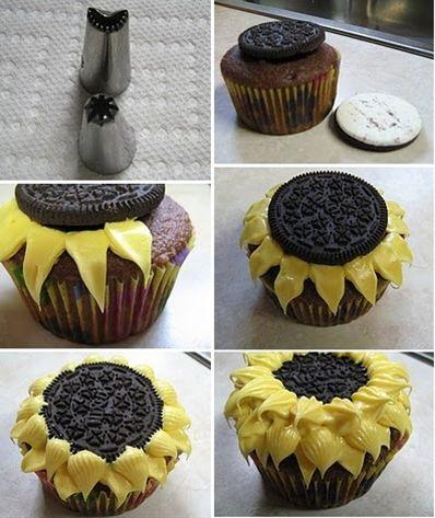Cupcakes girasoles con galletas Oreo | Recetas para niños y purés para bebés #sunflowercupcakes