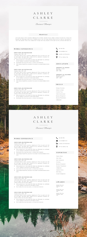Professional Resume Design Resume Template Ashley Clarke Resume Design Professional Resume Design Template Resume Template