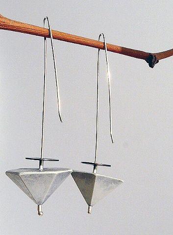 StudioChecha - Umbrella earrings, 2011   Cement, sterling silver, copper, patina, 3 1/4 long