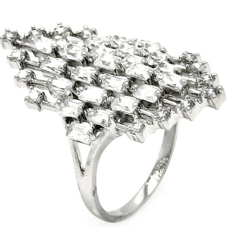 925 Sterling Silver Abstract Design Baguette Clear CZ Wedding Ring