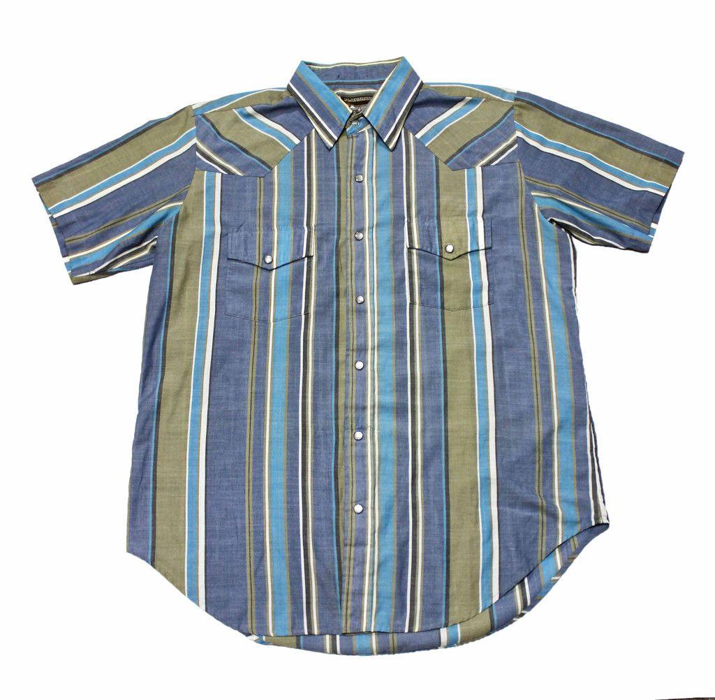 Vintage s Plainsman Pearl Snap Striped Button Up Shirt Mens Size