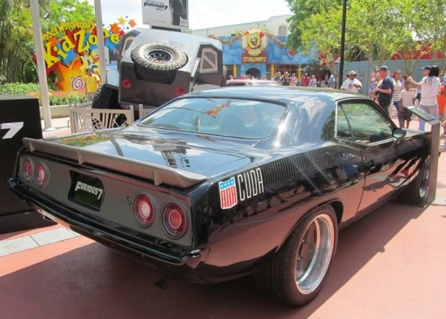 3 Cars From Furious 7 On Display At Universal Studios Orlando Muscle Cars Camaro Plymouth Barracuda Cuda
