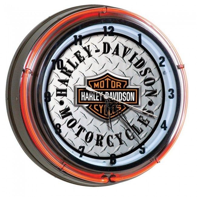 Harley Davidson Diamond Plate Neon Clock Harley Davidson