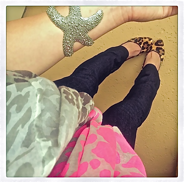 Accessories of the Day: Sacha Starfish Cuff and Positively Perfect Infinity Wrap Scarf. Shop www.popofchic.com