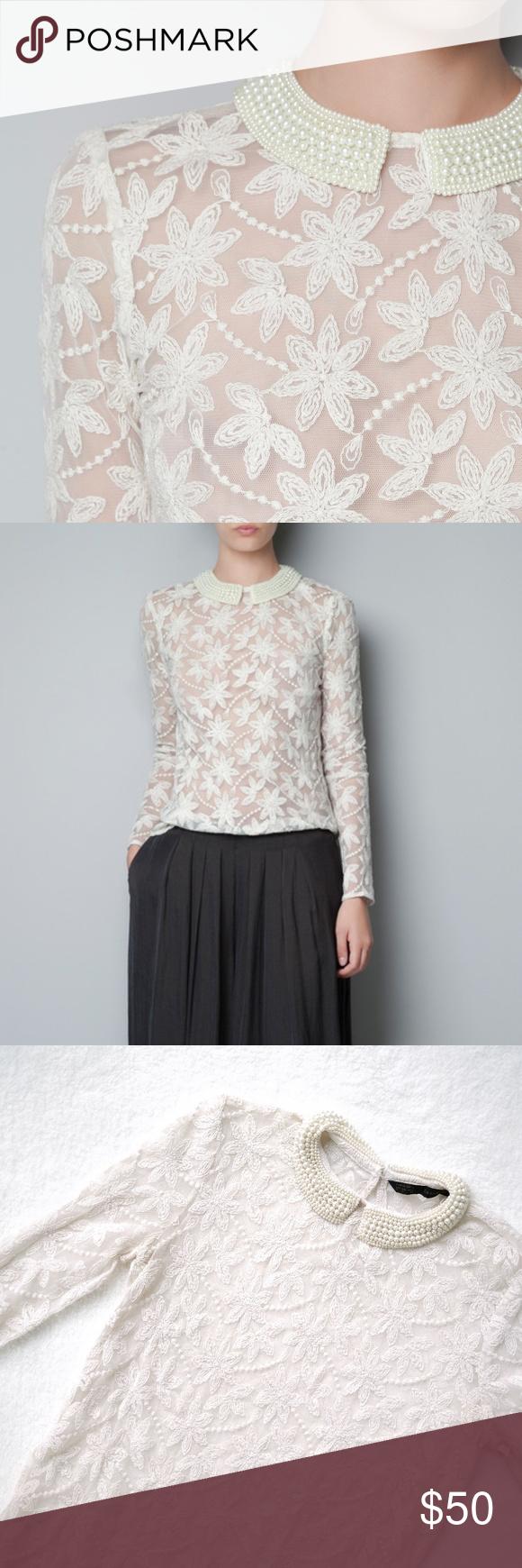 Zara lace pearl collar my posh closet pinterest fashion tips