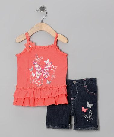 Take a look at this Coral Butterfly Tunic & Denim Shorts - Infant on zulily today!
