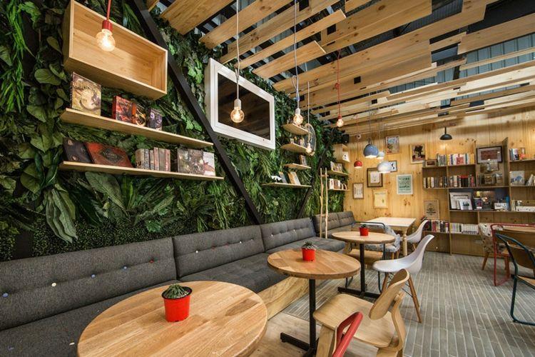 Cafe mit buchladen innendesign bilder  Café mit Buchladen mit attraktivem Design vielfältiger Stile ...