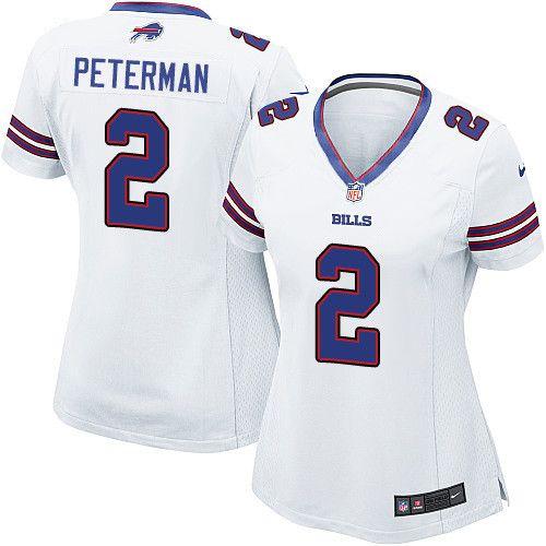 Women's Nike Buffalo Bills #2 Nathan Peterman Limited White NFL Jersey