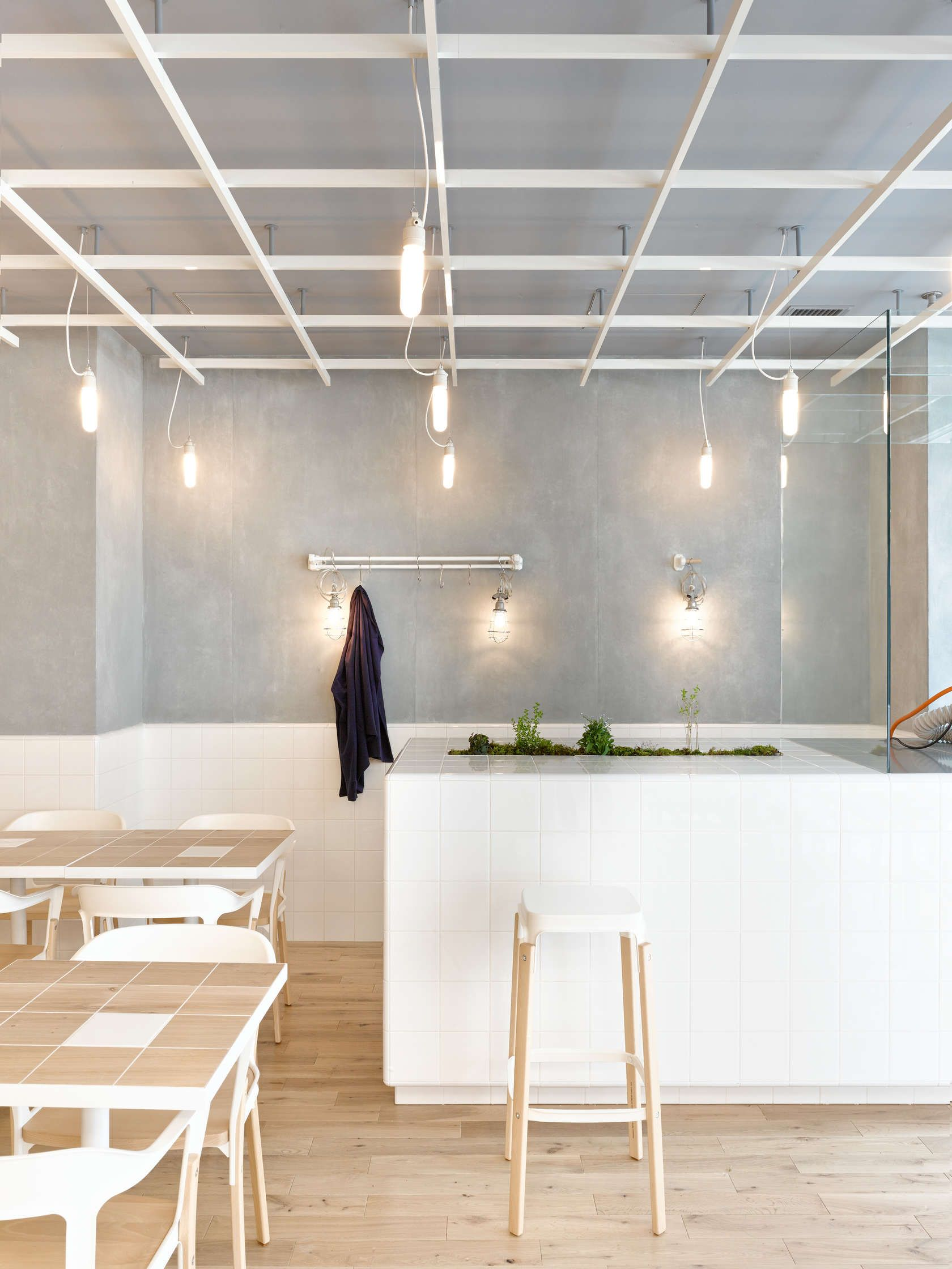 laboratory inspired minimalist coffee bar | white tiles
