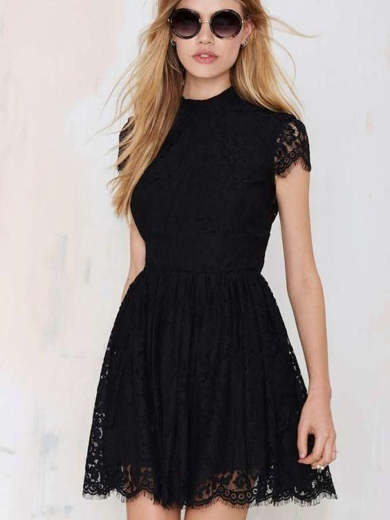 f3ed3c14a62 Little Black Dresses Homecoming Dress Sexy Open Back Lace Short Prom Dress  Party Dress JK375