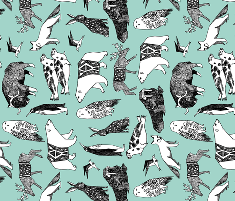 Colorful fabrics digitally printed by Spoonflower arctic